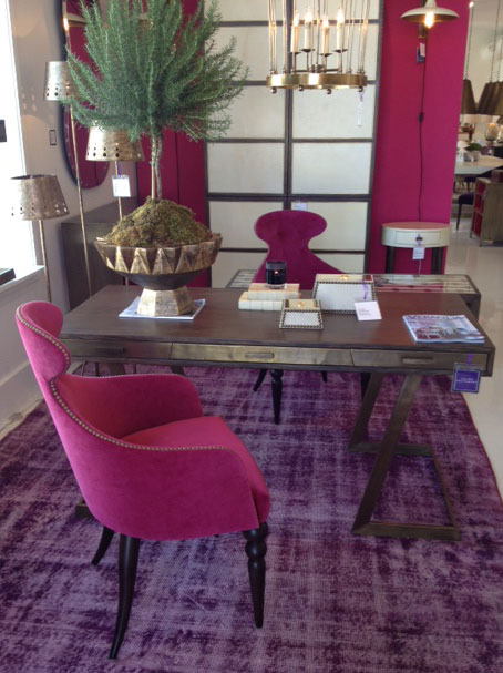 Julian Chichester, High Point Market, Theresa Seabaugh Interiors, pink chairs, bronze desk